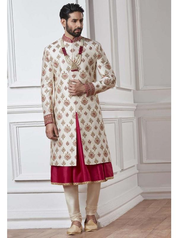 White,Cream Color Silk Sherwani.