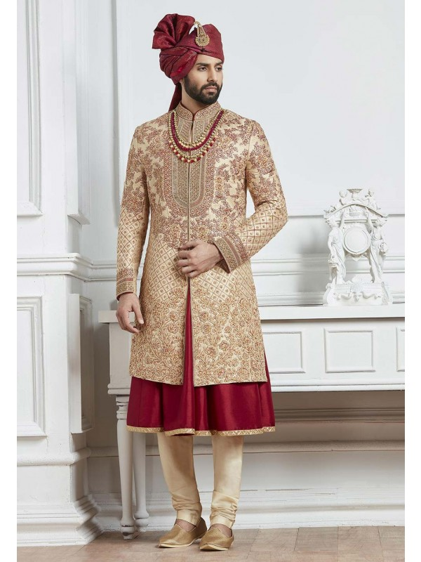 Golden,Maroon Color Indian Wedding Sherwani.