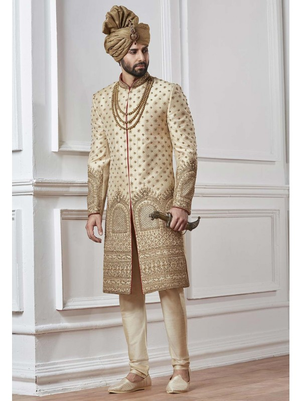 Cream,Golden Color Indian Sherwani.
