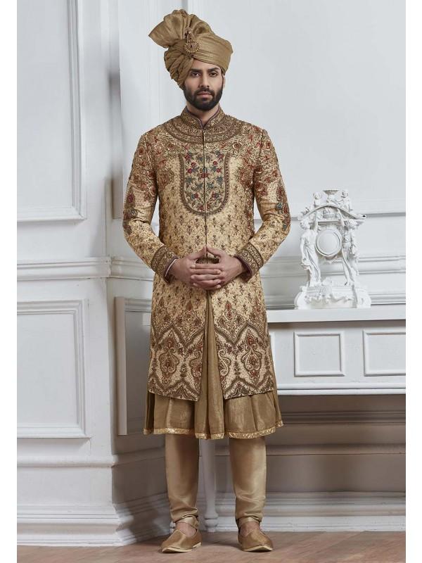 Golden Color Wedding Sherwani.