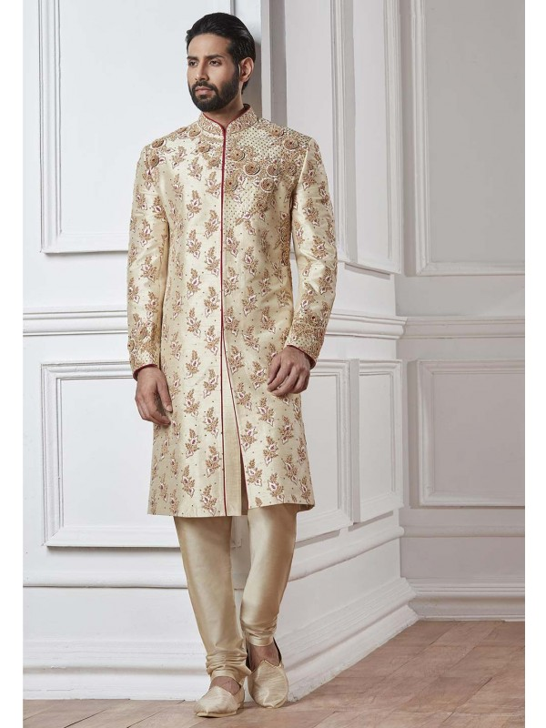 Cream Color Silk Sherwani.