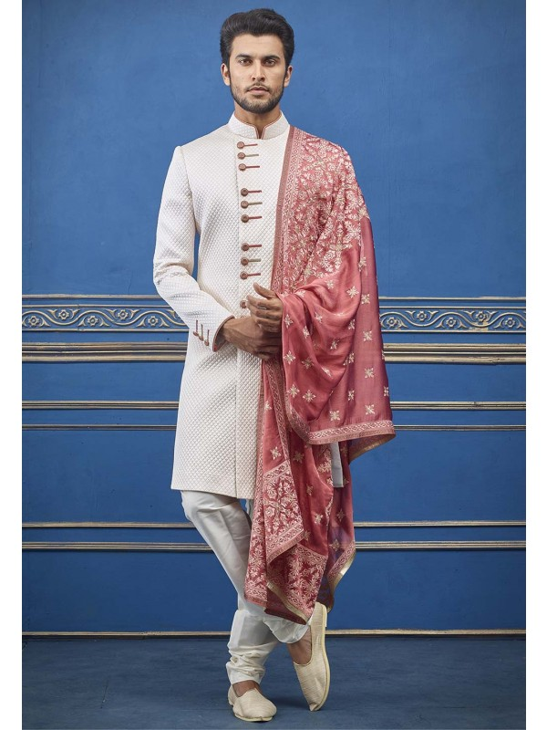 Quilted Designer Men's Indowestern Cream Colour.