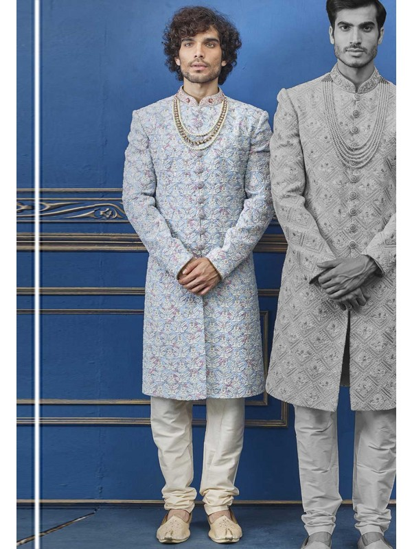 Cream,Blue Colour Silk Sherwani For Men.
