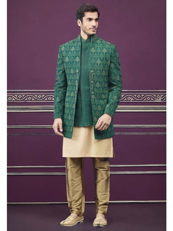 Silk Designer Indowestern Green Colour.