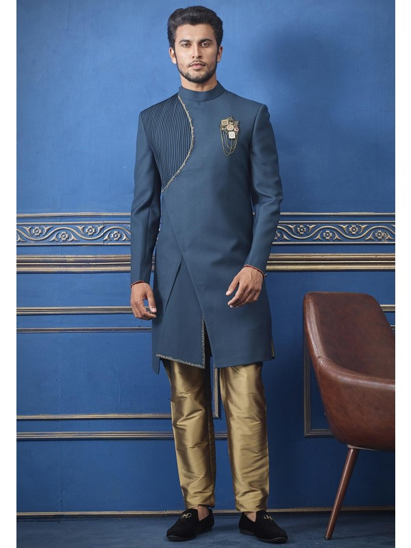 Blue Colour Men's Indowestern.