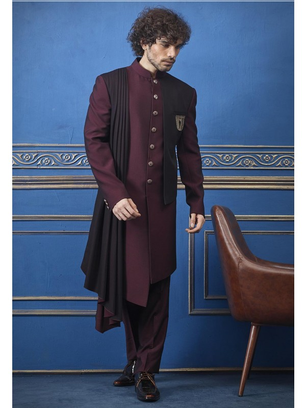 Classic Indowestern For Men's Wine Colour.