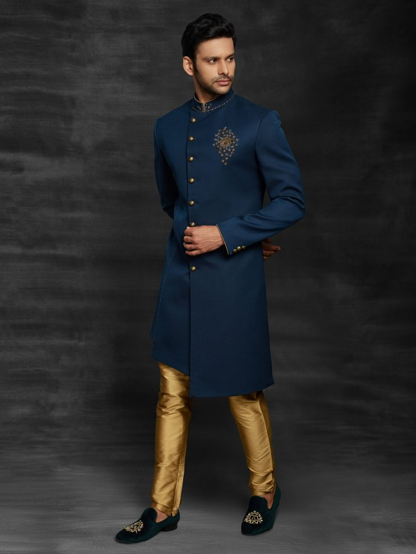 Blue Colour Imported Fabric Men's Indowestern With Hand Work.