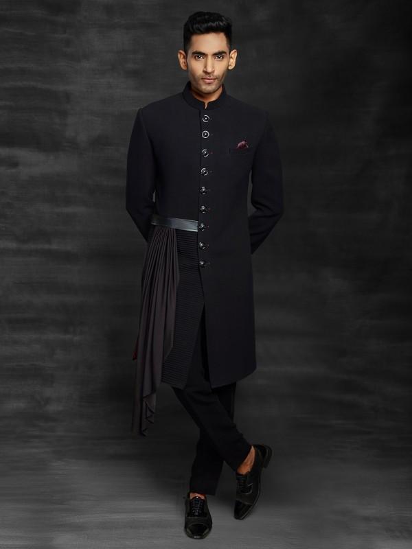 Designer Men's Indowestern Black Colour Imported Fabric.