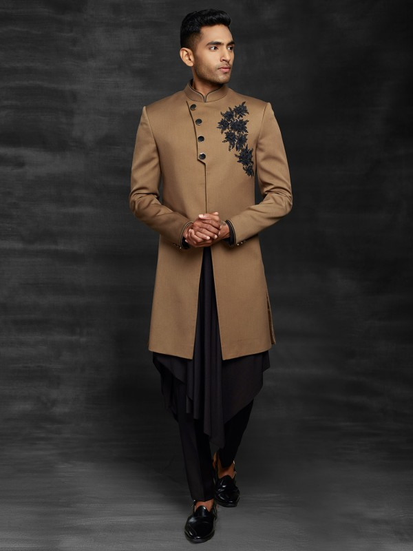 Black Men's Indowestern in imported Fabric With in Kurta.