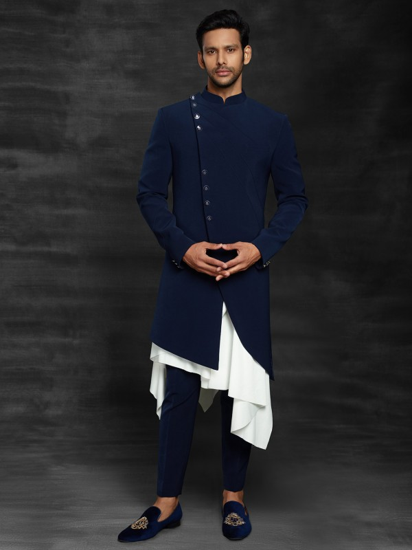 Fabulous Blue Colour Men's Indowestern in Imported Fabric.