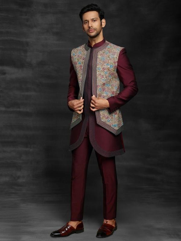 Maroon,Off White Colour Designer Men's Indowestern.