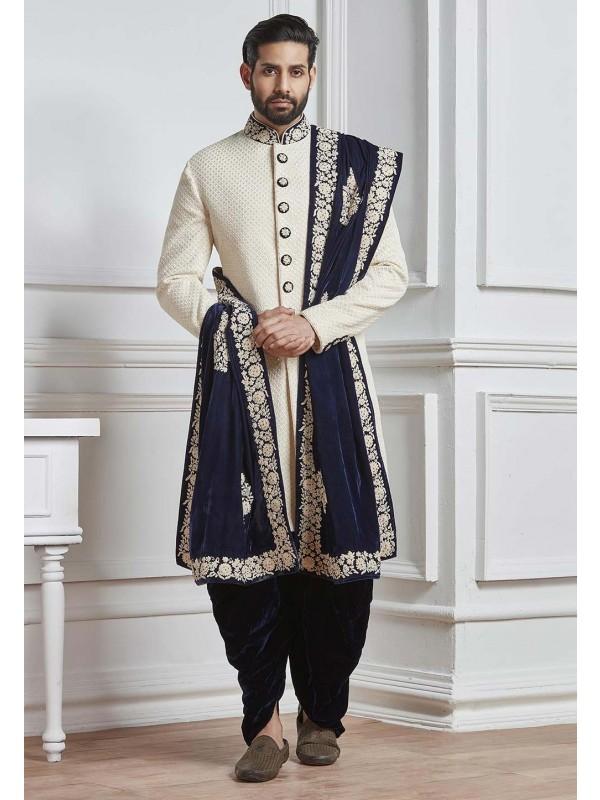 Fabulous White Color Designer Sherwani.
