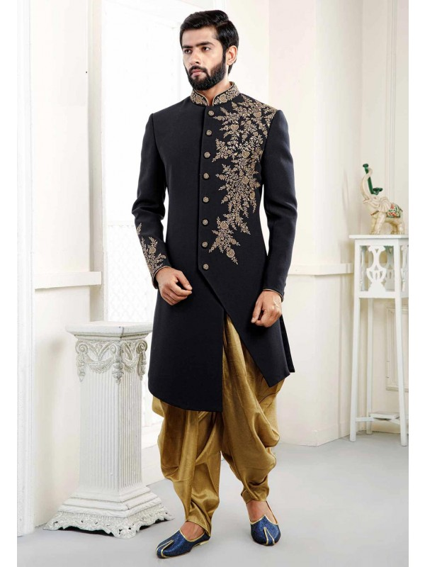 Embroidered Blue Indowestern