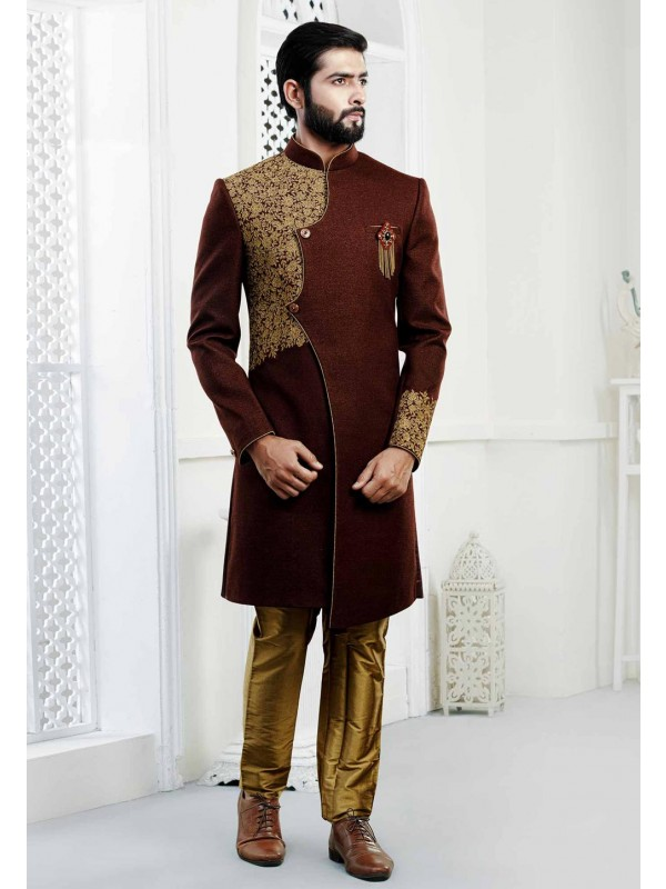 Maroon Indowestern sherwani for men