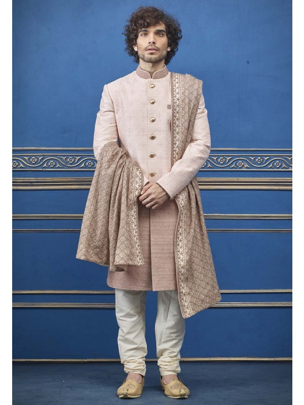 Peach,Cream Colour Jacquard Men's Indowestern.