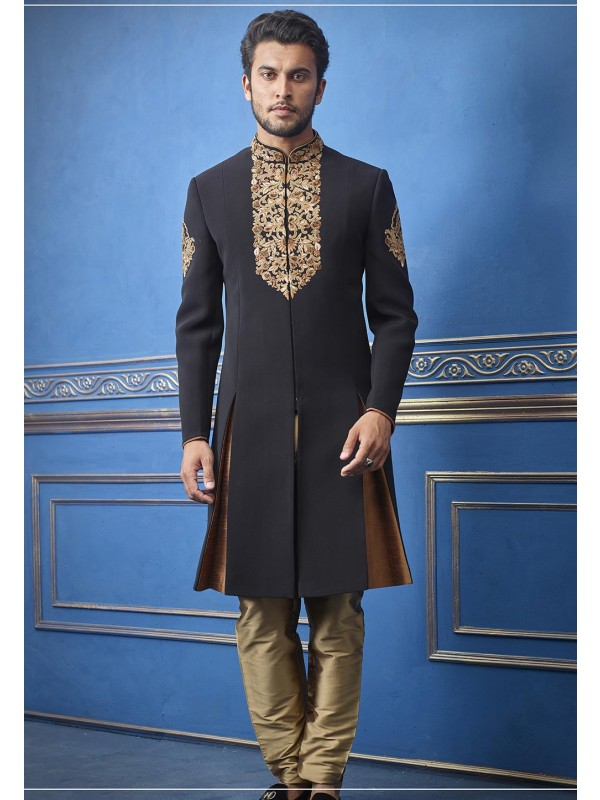 Exclusive Designer Men's Indowestern Black Colour.