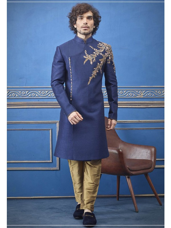 Blue Colour Imported Fabric Party Wear Indo.