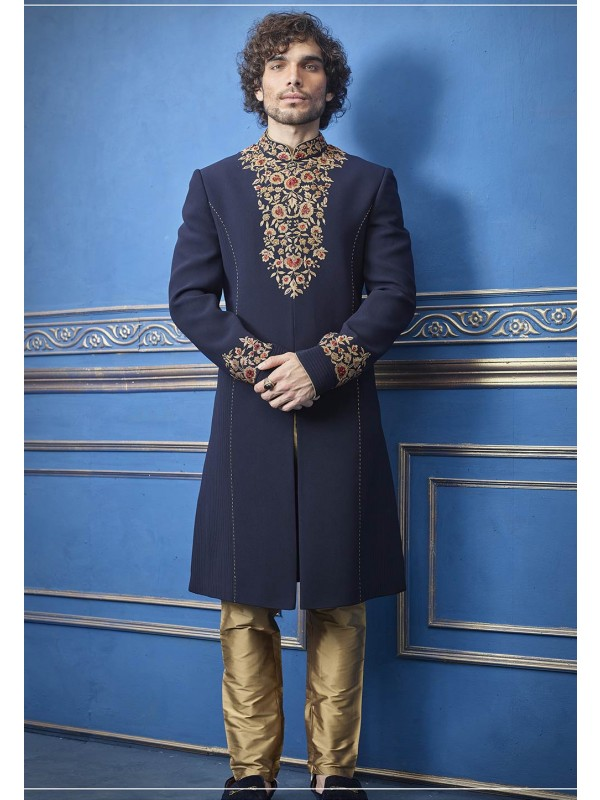 Indian Designer Indowestern Blue Colour.