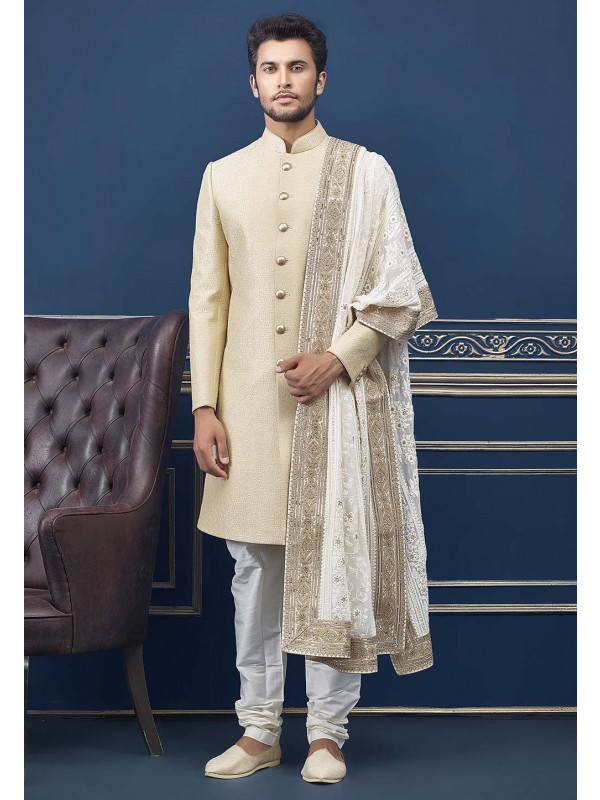 Cream Colour Men's Wedding Indo Sherwani.