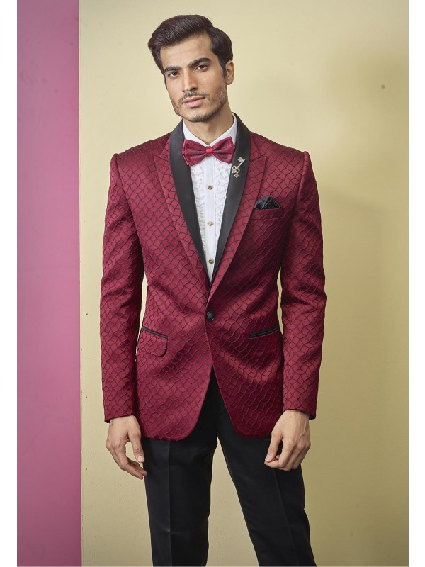 Textured Designer Tuxedo Suit Maroon Colour.