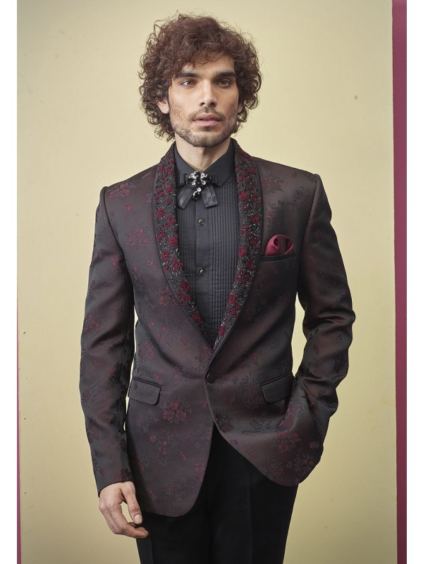 Wine Colour Mens Suit For Wedding.
