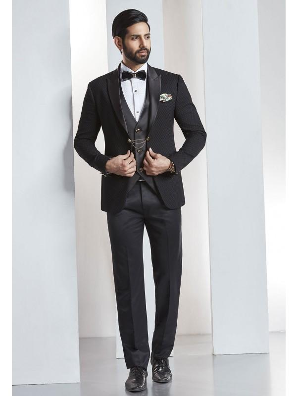 Black Color Wedding Suit.