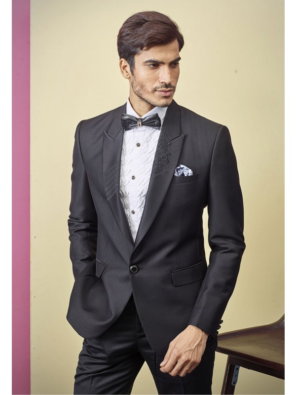 Indian Designer Tuxedo Suit Black Colour.