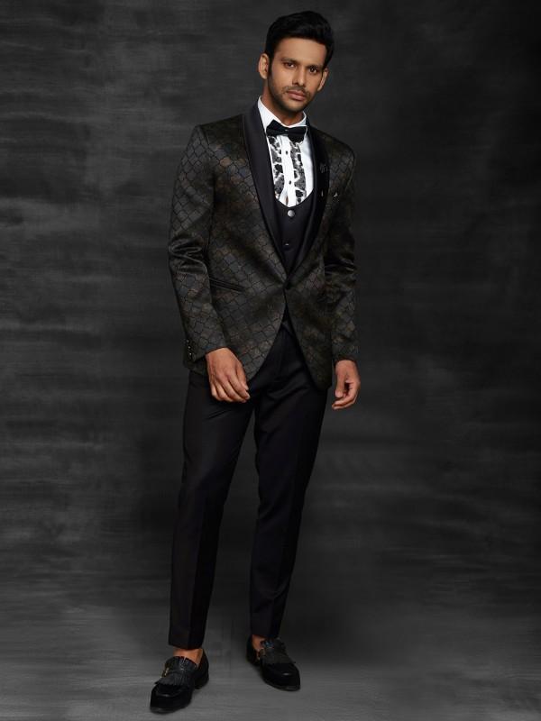 Black Colour Imported Fabric Designer Three Piece Suit.