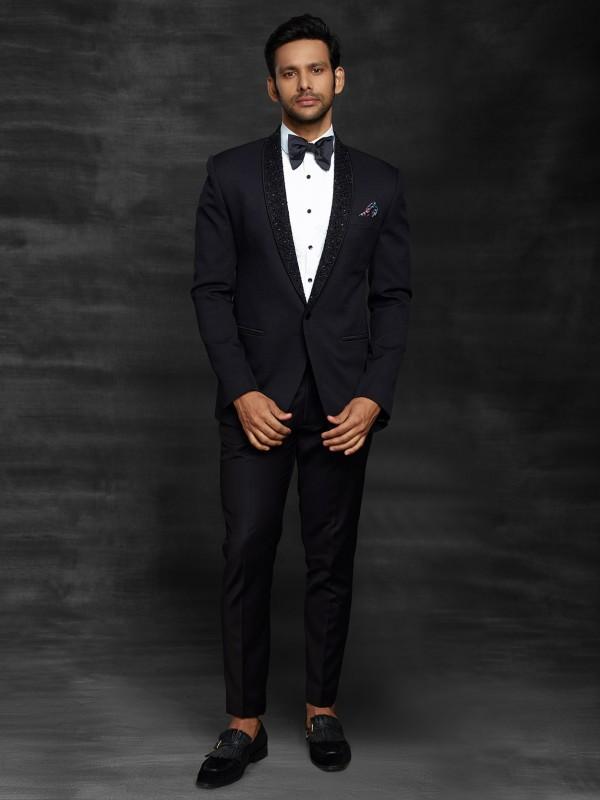 Imported Fabric Designer Suit in Black Colour