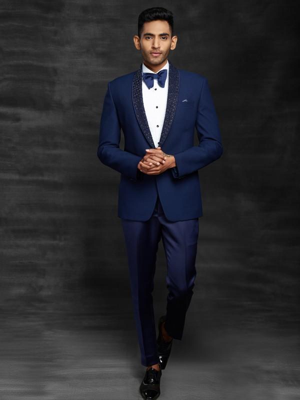 Blue Colour Imported Fabric Designer Men's Suit.