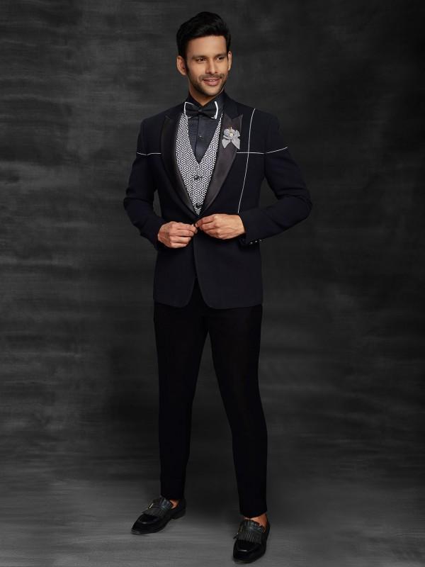 Imported Fabric Indian Designer Men's Suit in Black Colour.