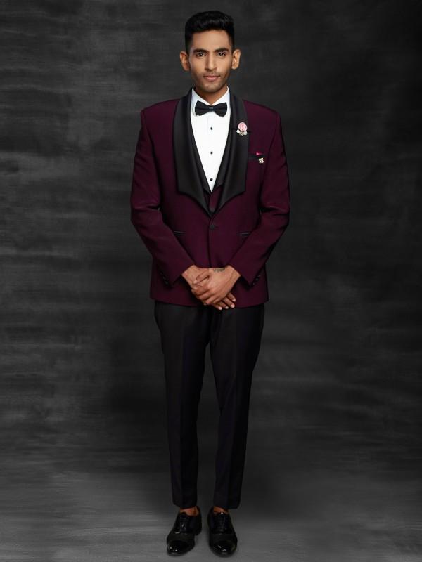 Wine Colour Imported Fabric Designer Tuxedo Suit.