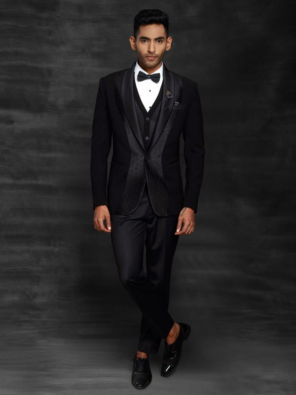 Black Colour Designer Men's Tuxedo Suit in Imported Fabric.
