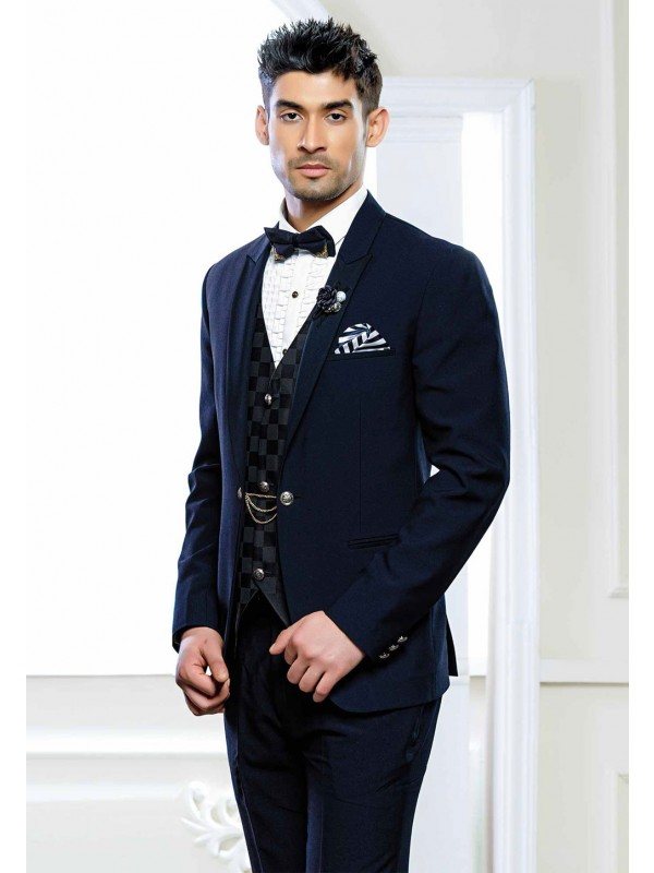 Blue Colour Party Wear Tuxedo Suit.