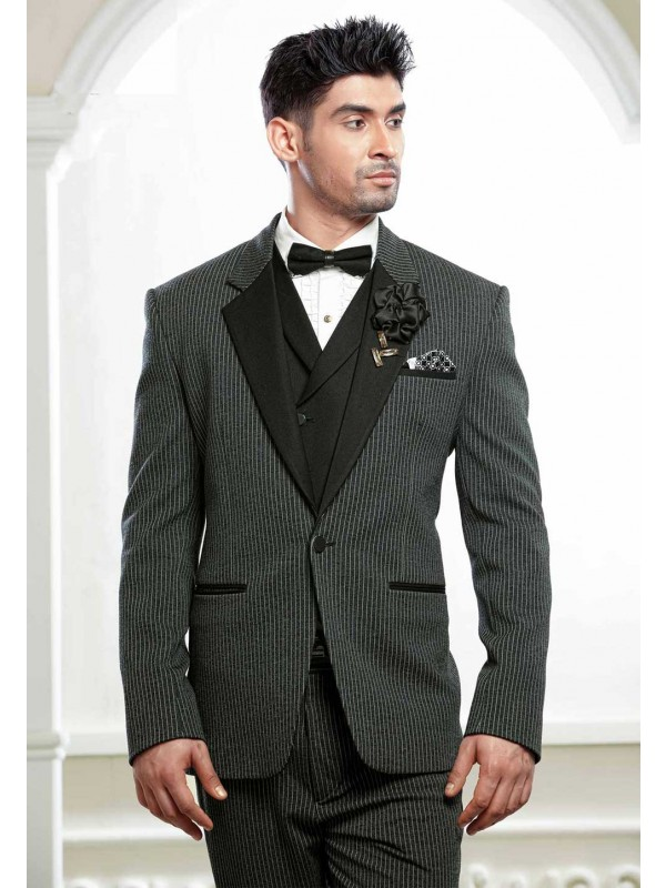 Black,Grey Colour Tuxedo Suit.
