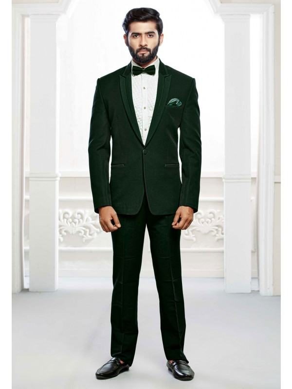 Green Colour Designer Tuxedo Suit