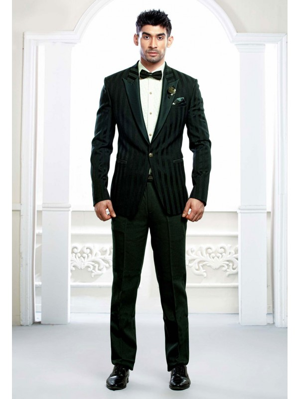 Green Colour Tuxedo Suit.