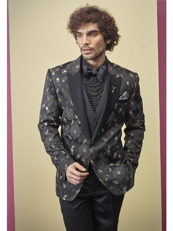 Black Colour Flower Design Tuxedo Suit.