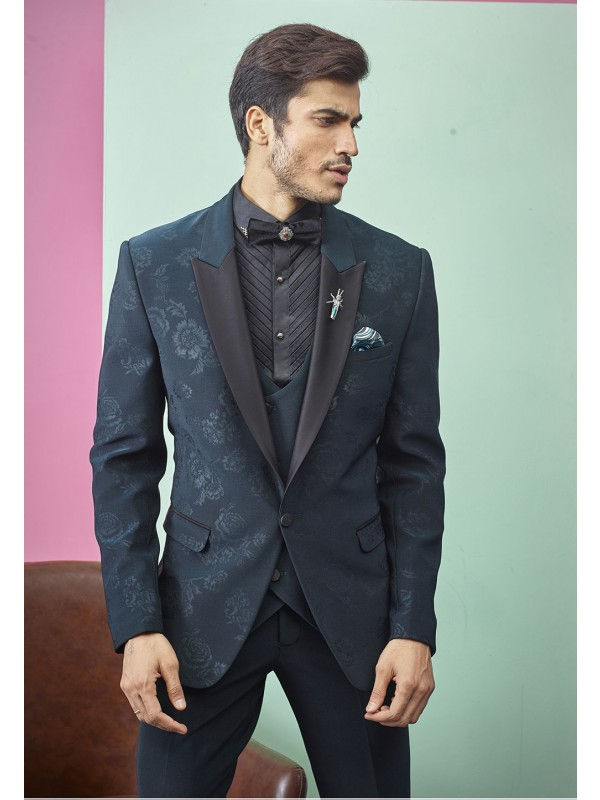 Green Colour Party Wear Designer Tuxedo Suit.