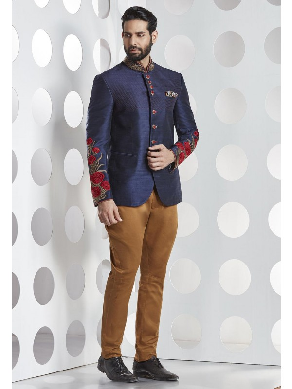 Blue Color Silk Jodhpuri Suit.