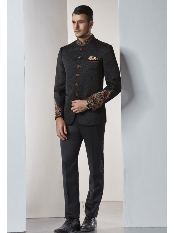 Black Color Indian Designer Jodhpuri Suit.