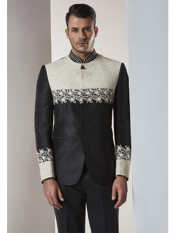 Black Color Designer Jodhpuri Suit.