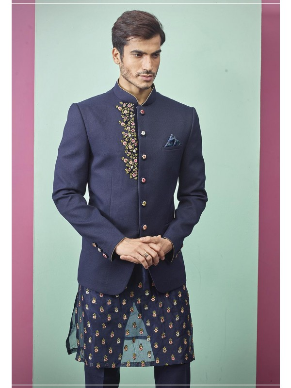 Blue Colour Imported Fabric Jodhpuri Suit.