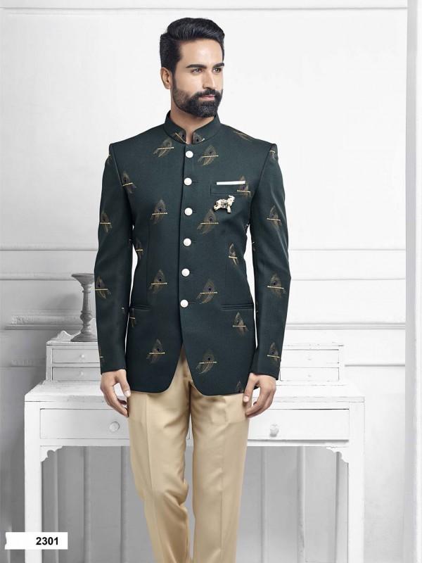 Green Colour Imported Fabric Designer Jodhpuri Suit.