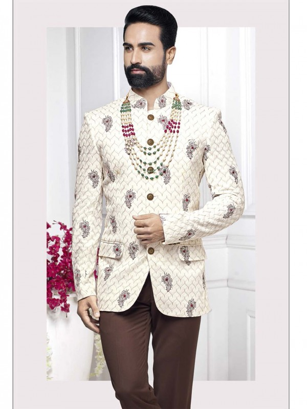 Cream Colour Men's Wedding Jodhpuri Suit.