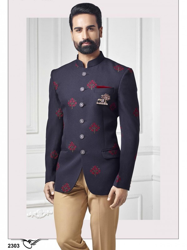 Party Wear Jodhpuri Suit Blue Colour With Embroidery Work.