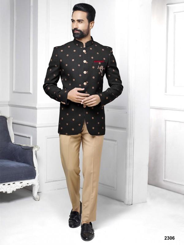 Black Colour Imported Fabric Designer Jodhpuri Suit.
