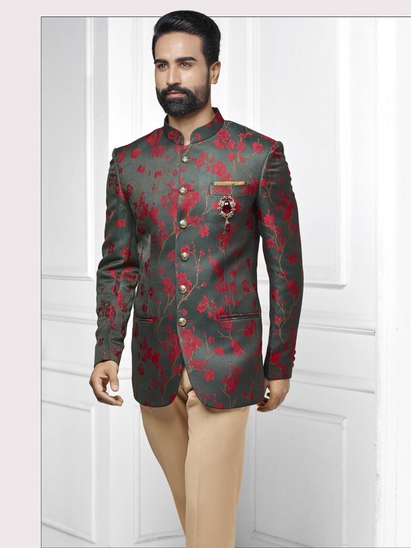 Black,Grey Colour Printed Jodhpuri Suit.
