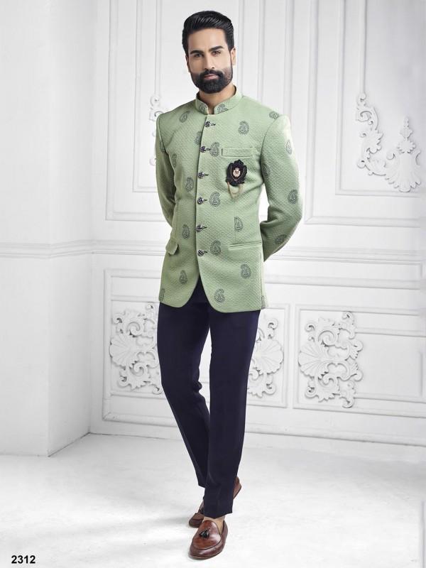 Pista Green Colour Printed Jodhpuri Suit.
