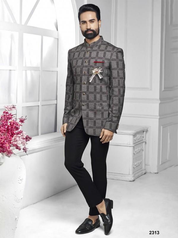 Grey Colour Imported Fabric Mens Jodhpuri Suit.